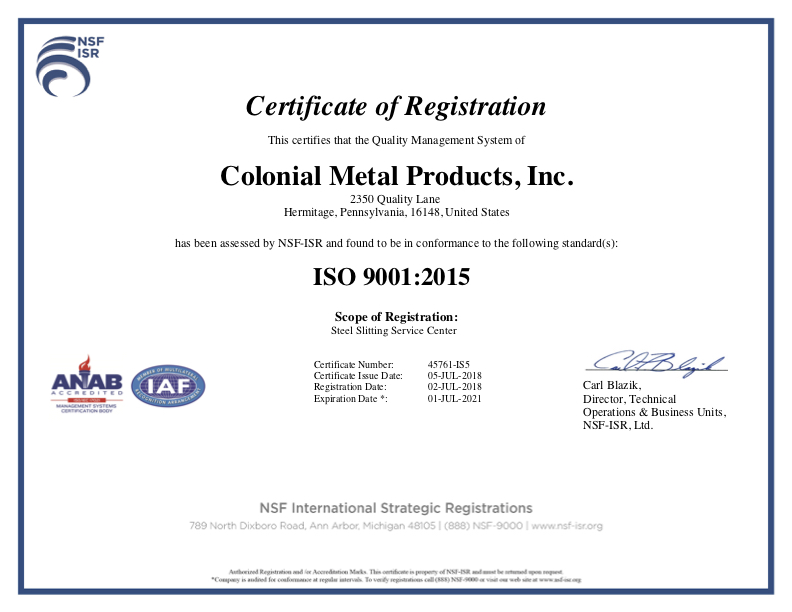Current ISO NSF Cert, 12-12